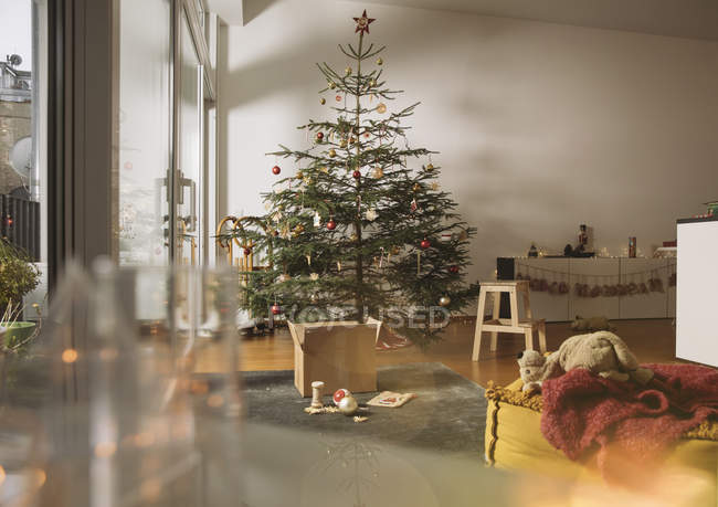 Decorated Christmas tree in family living room — Stock Photo
