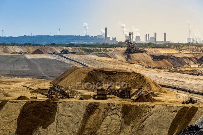 Германия, Северный Рейн-Вестфалия, Borschemich, Garzweiler поверхности шахты, рекультивации, электростанции Frimmersdorf, Нейрат und Niederaussem в фоновом режиме — стоковое фото