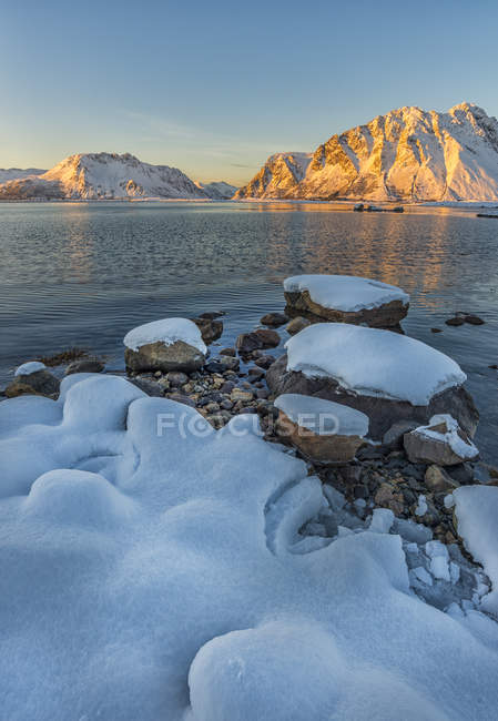 Norway, Lofoten Islands, Sunset on a fjord — Stock Photo
