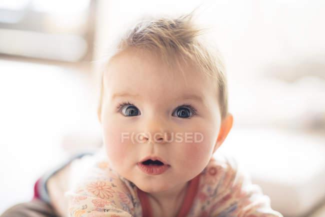 Retrato de menina surpreendida olhando para a câmera — Fotografia de Stock