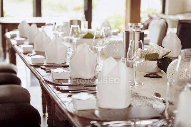 Festive wedding laid dinner table — Stock Photo