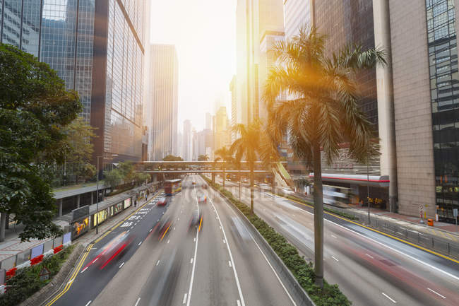 View of Traffic in motion in Central Hong Kong, China — Stock Photo