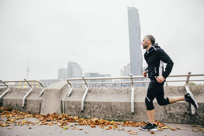Австрия, Вена, спортсмен, бегущий на Донауинзеле — стоковое фото