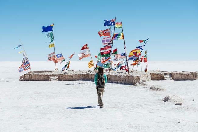 Bolivia, Atacama, Altiplano, Salar de Uyuni, Flags from all countries — Stock Photo