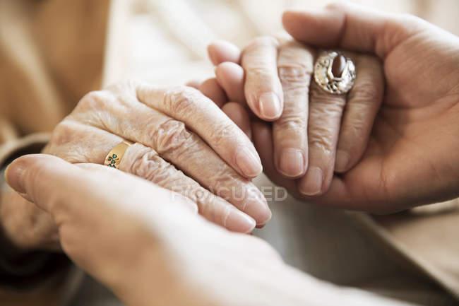 Erwachsene Tochter hält die Hände ihrer Mutter, Nahaufnahme — Stockfoto