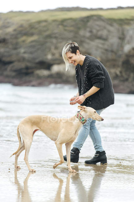 Jeune femme jouant avec son lévrier sur la plage — Photo de stock