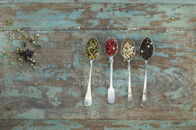 Строка четыре серебряные ложки с различных видов перца — стоковое фото