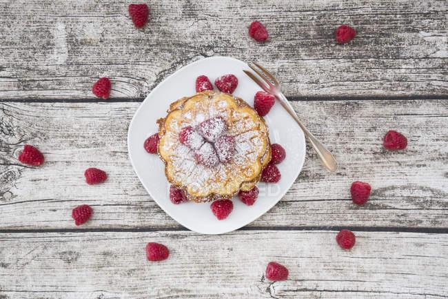 Pilha de waffles com framboesas e açúcar de confeiteiro — Fotografia de Stock
