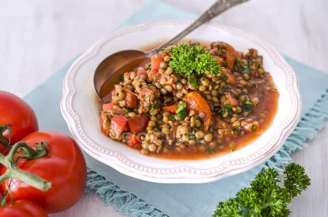 Salade de lentilles et tomates au persil dans un bol — Photo de stock