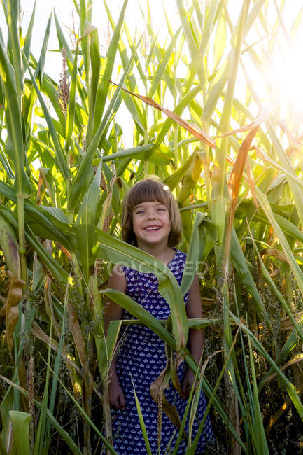 Happy little girl standing in a cornfield — Stock Photo