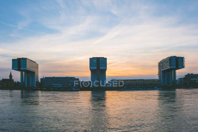 View to Crane Houses at dusk, Cologne, Germany — Stock Photo