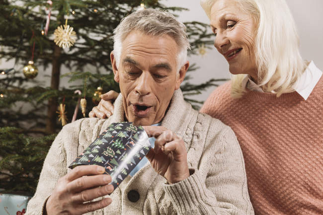 Senior couple exchanging Christmas gifts in front of tree — Stock Photo
