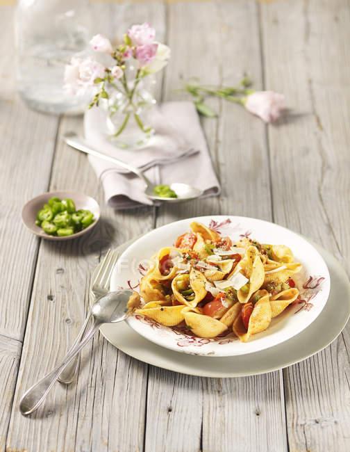 Pasta with tomato sauce and chili — Stock Photo