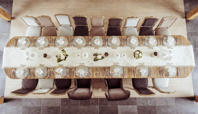 Top view of Festive laid dinner table indoors — Stock Photo