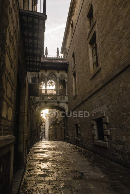 Spain, Barcelona, view to Bisbe Street in the Gothic Quarter — Stock Photo