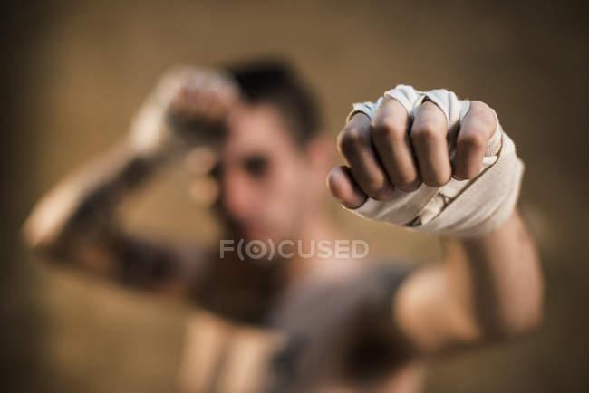 Bandaged hand of muay thai fighter — Stock Photo