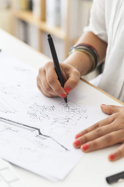 Close-up of Landscape architect drawing at desk — Stock Photo