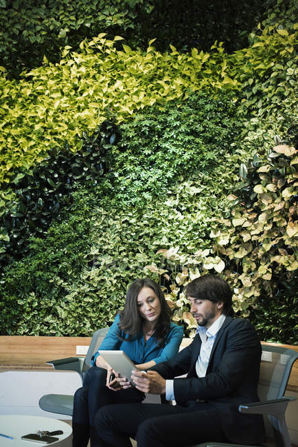 Businessman and businesswoman sitting in front of green plant wall, using digital tablet — Stock Photo