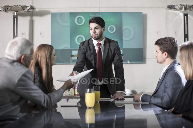 Business people in modern office meeting — Stock Photo