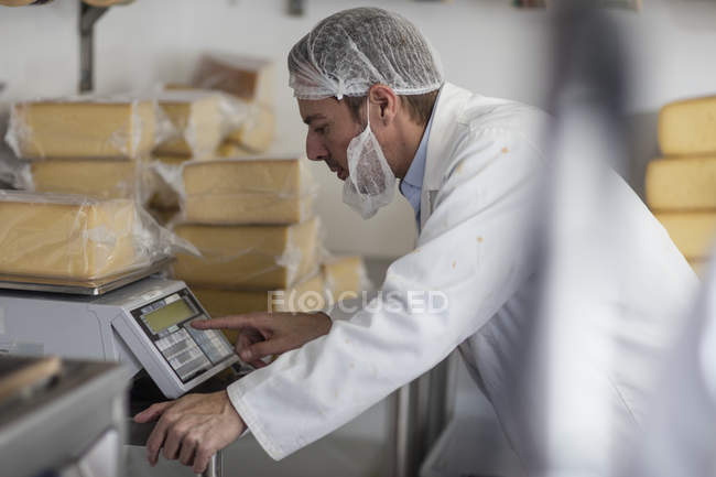 Cheese factory worker weighing packaged cheese — Stock Photo