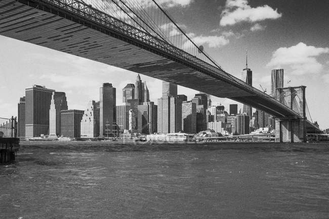 USA, New York City, cityscape with Manhattan and Brooklyn Bridge in the foreground — Stock Photo