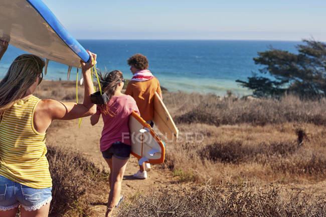 Друзі, які перевозять дошки для серфінгу на узбережжі — стокове фото