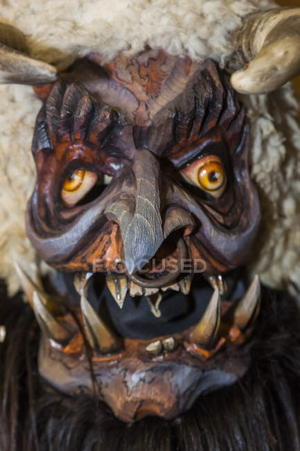 Handcrafted Wooden Krampus Mask Single Object Color Image Stock