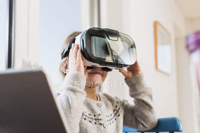 Close-up of Little girl using VR glasses — Stock Photo