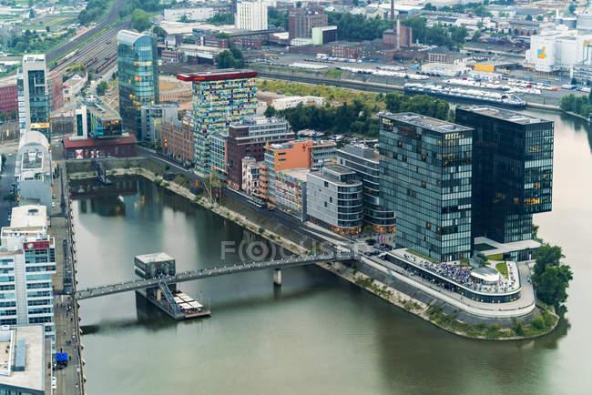 Німеччина, Duessseldorf, пташиного польоту медіа гавані — стокове фото