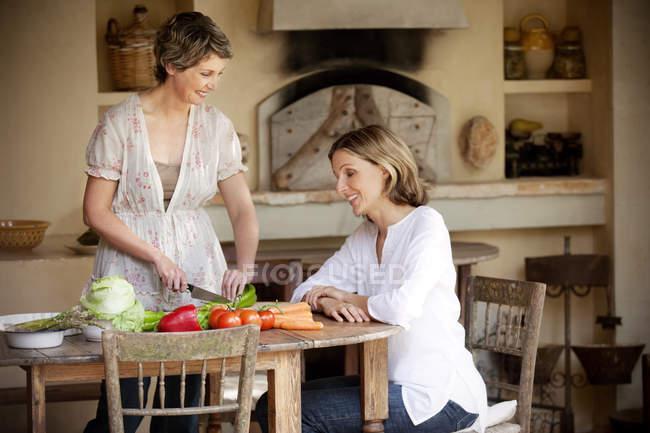 Duas amigas se comunicando na cozinha — Fotografia de Stock