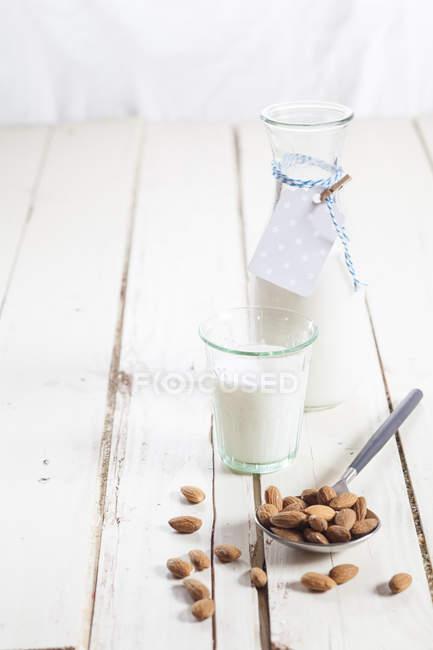 Стекло и графин из домашнего миндального молока и миндаля — стоковое фото