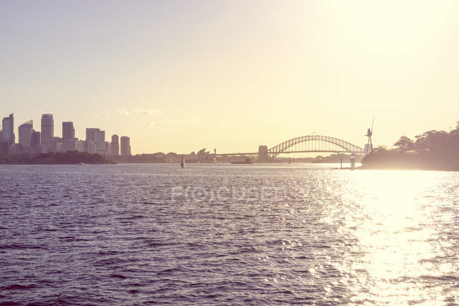 Australia, Sydney, view to Sydney Harbour Bridge at backlight — Stock Photo