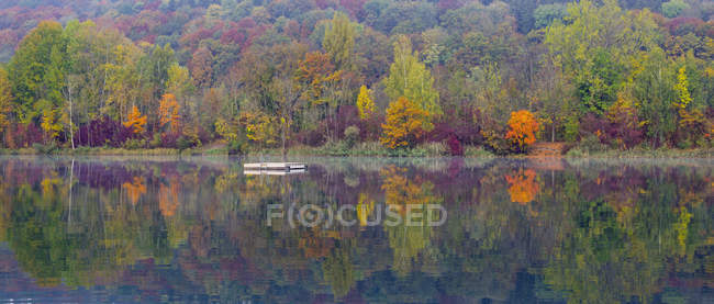 Germany, Pfuhler See, quarry pond in autumn, panorama — Stock Photo