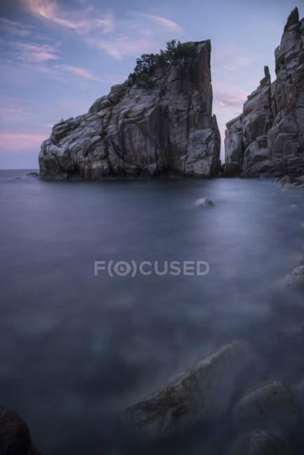 Spain, Blanes, Costa Brava, view to the sea at twilight — Stock Photo