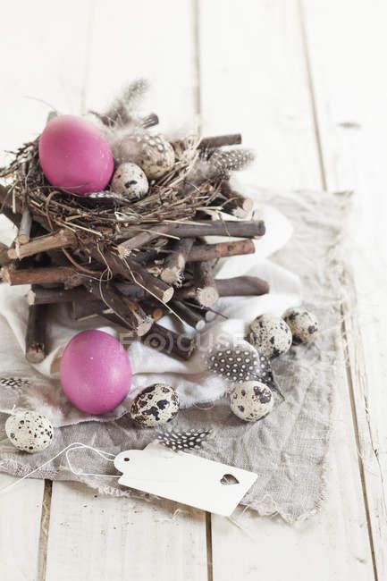 Rosa Ostereier mit Wachteleiern und rustikalem Nest — Stockfoto