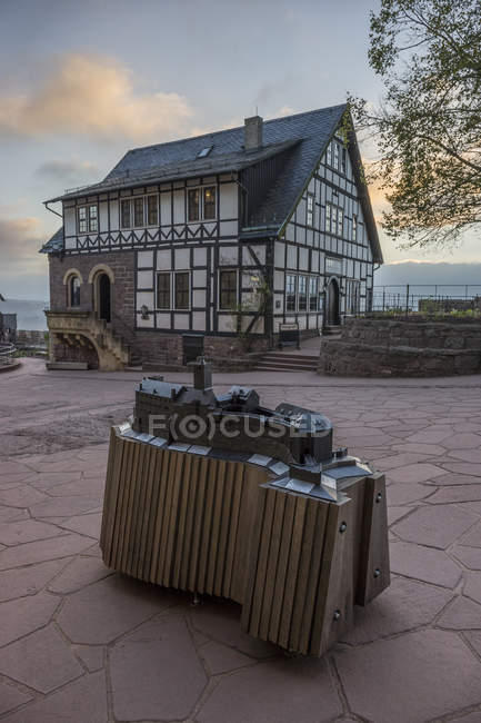 Germany, Thuringia, Eisenach, Wartburg, miniature in the evening — Stock Photo