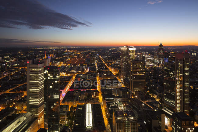 Germany, Hesse, Frankfurt, Illuminated cityscape from above — Stock Photo