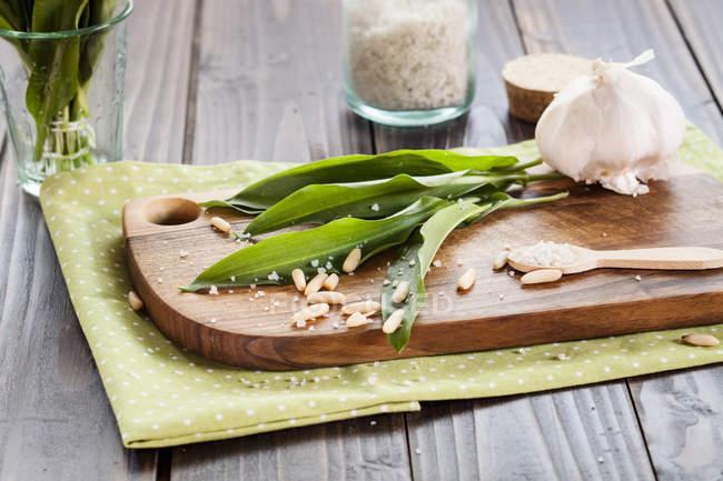 Vue des ingrédients pour le pesto ramson sur planche à découper — Photo de stock