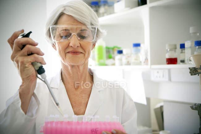 Жіночий професор заповнення зразок келихи у лабораторії — стокове фото