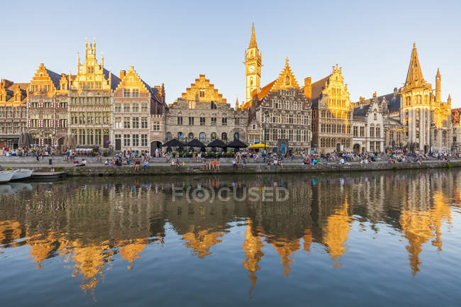 Belgium, Ghent, old town of Graslei, historical houses at River Leie — Stock Photo