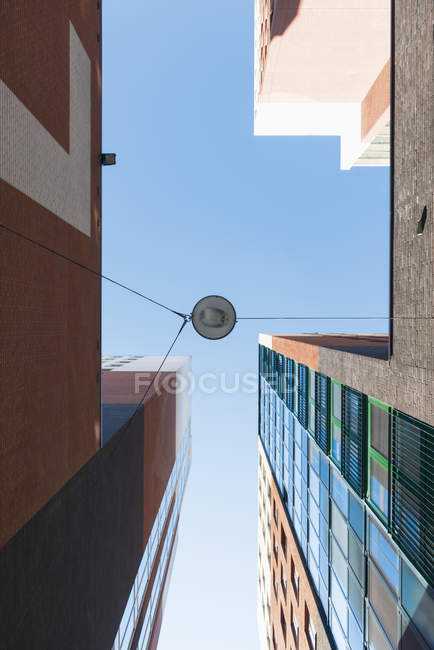 Netherlands, Roermond, view to facades of office tower and high-rise residential building from below — Stock Photo