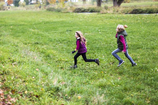 Хлопчик і дівчинка працює на зелений Луці — стокове фото
