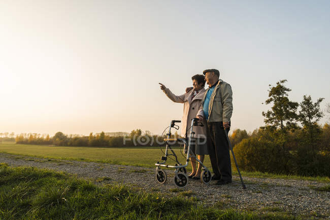 Senior couple with walking stick and wheeled walker standing in the nature — Stock Photo