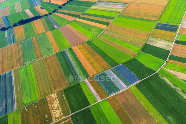 Aerial view of colorful agricultural fields at daytime, Bavaria, Germany — Stock Photo