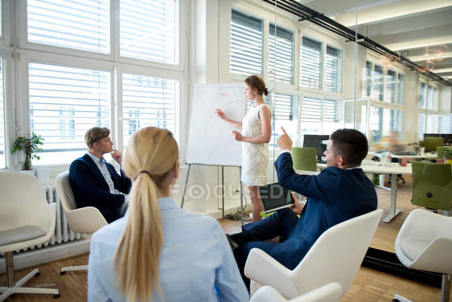 Young Businesswoman leading a presentation at flip chart — Stock Photo
