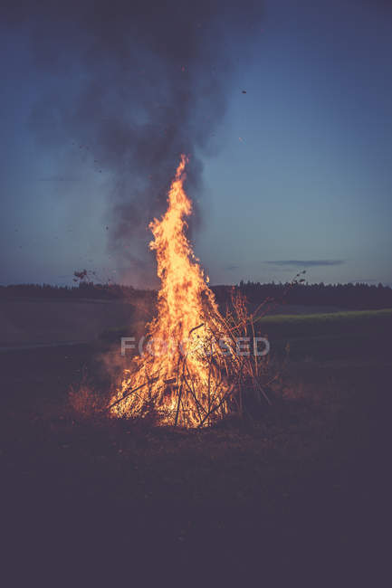 Burning camp fire on a meadow in the evening — Stock Photo
