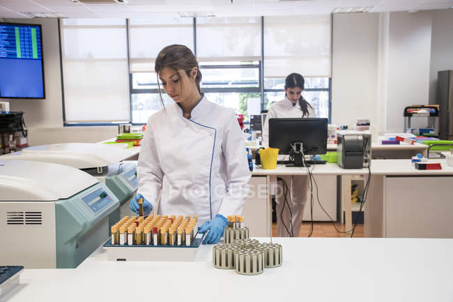 Laboratory technician in analytical laboratory taking test tubes from a centrifuge container — Stock Photo