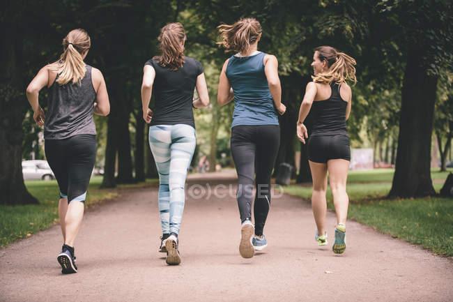 Vista posterior de las cuatro mujeres de jogging en el Parque - foto de stock