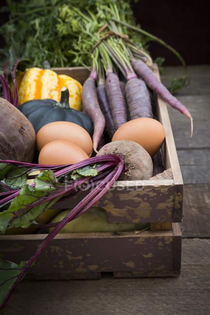 Деревянная коробка из различных органических овощей на темной древесины — стоковое фото