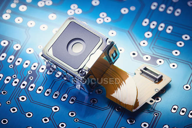 Close-up of micro spy camera on printed circuit board — Stock Photo